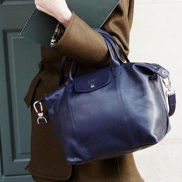 Longchamp Le Pliage Cuir Navy Leather Bag